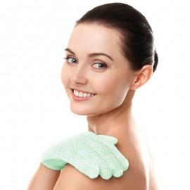 Peelingujące rękawiczki kąpielowe - zielone