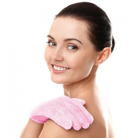 Peelingujące rękawiczki kąpielowe - różowe