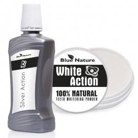 Płyn stomatologiczny do płukania ust Silver Action ze srebrem koloidalnym + Proszek do wybielania zębów White Action
